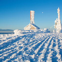 Radio towers covered in rime ice on the summit of New Hampshire's Mount Washington.