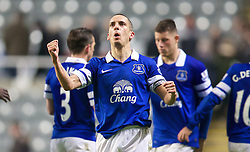 25.03.2014, St. James Park, Newcastle, ENG, Premier League, Newcastle United vs FC Everton, 28. Runde, im Bild Everton's goal-scorer Leon Osman celebrates after his side's 3-0 victory over Newcastle United // during the English Premier League 28th round match between Newcastle United and Everton FC at the St. James Park in Newcastle, Great Britain on 2014/03/25. EXPA Pictures &copy; 2014, PhotoCredit: EXPA/ Propagandaphoto/ David Rawcliffe<br /> <br /> *****ATTENTION - OUT of ENG, GBR*****