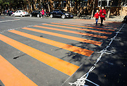 SHENYANG, CHINA - OCTOBER 14: (CHINA OUT)<br /> <br /> Funny Zebra Crossing's<br /> <br /> Zebra crossings with their margins drawn steel wire mesh are seen at Yingchang Street on October 14, 2014 in Shenyang, Liaoning province of China. Zebra crossings are designed into various funny forms such as piano keys, musical satffs and little feet to draw citizens\' attention to walk on sidewalk when cross roads.<br /> ©Exclusivepix