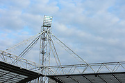 Corner of the stand with floodlights before the Sky Bet Championship match between Preston North End and Burnley at Deepdale, Preston, England on 22 April 2016. Photo by Simon Brady.