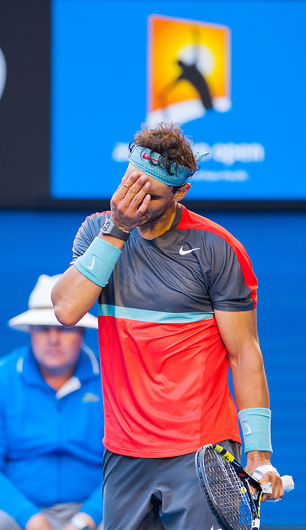 Rafael Nadal (ESP) turned back a strong challenge by K. Nishikori (JPN) in the men's singles division in day eight of the Australian Open. Nadal struggled at times and required a medical time out to tape his hands but he ended the day winning 7-6 (3), 7-5, 7-6 (3). The match was held at Melbourne's Rod Laver Arena.