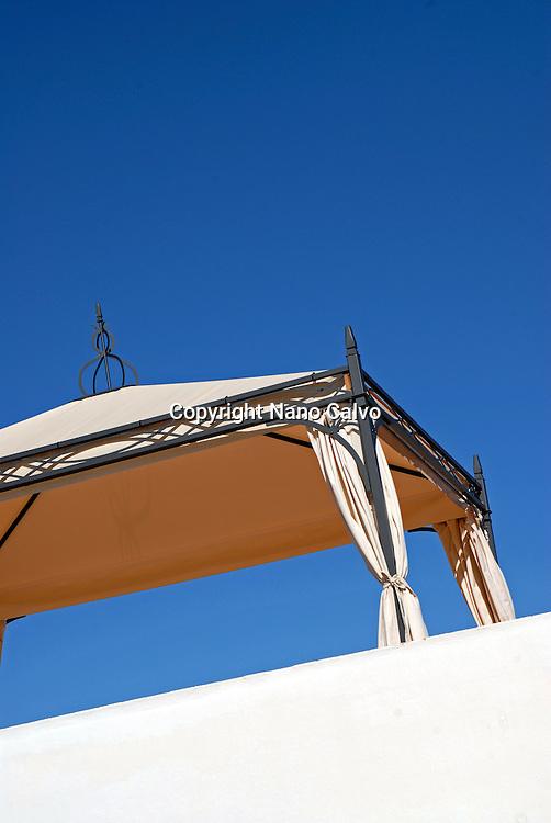 Design sun protector in balcony of a house, Ibiza, Spain