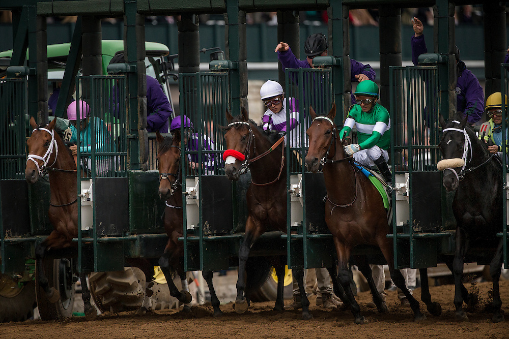 October 31, 2015:  The start of the Breeders' Cup Juvenile at Keeneland Race Track in Lexington, Kentucky. Evers/ESW/CSM