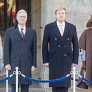 NLD/Amsterdam/20161128 - Belgisch Koningspaar start staatsbezoek aan Nederland, Koning Willem Alexander en Koning Filip met Koningin Maxima en Koningin Mathilde