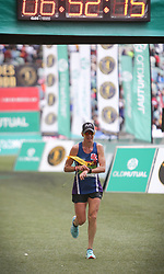 10062018 (Durban) A 10th position Yolande McLean, RSA (6:52:16) run towards the finnish line during the 2018 Comrades marathon in Durban.<br /> Picture: Motshwari Mofokeng/ANA