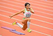 Mar 5, 2017; Belgrade, Serbia; Patricia Mamona (POR) places second in the women's triple jump at 46-11¾ (14.32m) during the 34th European Indoor Championships at Kombank Arena. (Jiro Mochizuki/Image of Sport)