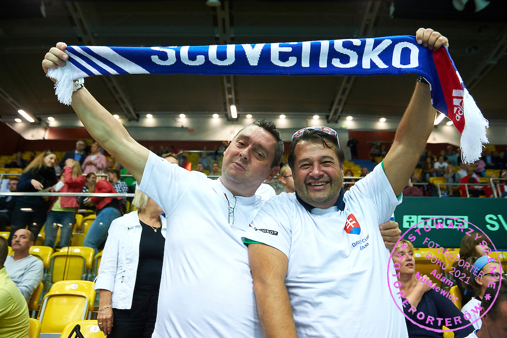 Supporters of Slovakia during Davis Cup Tie World Group Play-off Poland v Slovakia at Gdynia Arena Hall in Gdynia, Poland.<br /> <br /> Poland, Gdynia, September 20, 2015<br /> <br /> Picture also available in RAW (NEF) or TIFF format on special request.<br /> <br /> For editorial use only. Any commercial or promotional use requires permission.<br /> <br /> Adam Nurkiewicz declares that he has no rights to the image of people at the photographs of his authorship.<br /> <br /> Mandatory credit:<br /> Photo by &copy; Adam Nurkiewicz / Mediasport
