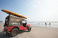Lifeguard vehicle at Anjuna Beach, Goa, India