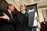 TRENTON, NJ - DECEMBER 17:  New Jersey Governor Jon S. Corzine is congratulated after he signs legislation to eliminate the death penalty and replace it with life imprisonment without eligibility for parole December 17, 2007 at the State House in Trenton, New Jersey. .New Jersey is the first state to eliminate the death penalty..(Photo by William Thomas Cain/Getty Images)