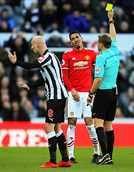 Chris Smalling of Manchester United is shown a yellow card for diving - Mandatory by-line: Matt McNulty/JMP - 11/02/2018 - FOOTBALL - St James Park - Newcastle upon Tyne, England - Newcastle United v Manchester United - Premier League