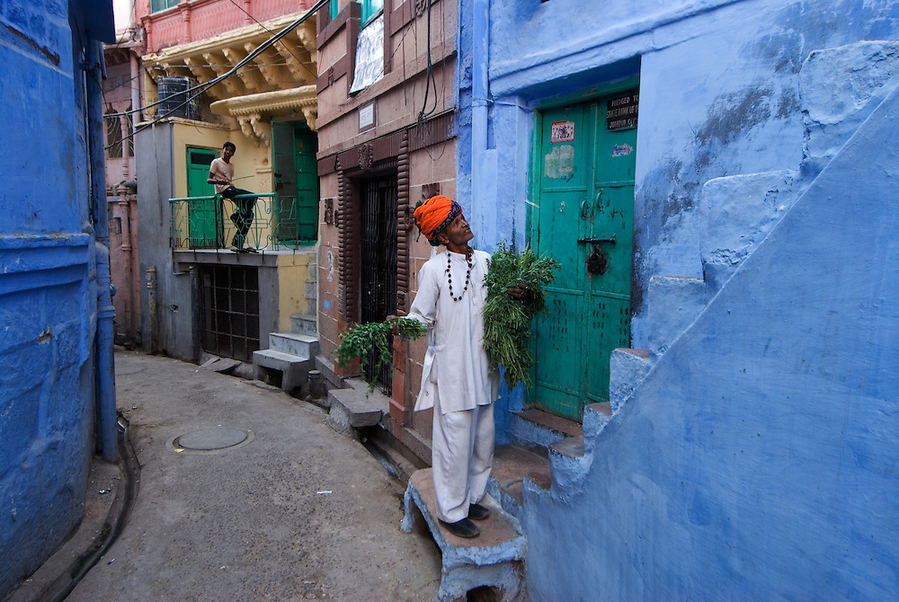 The blue painted streets of Jodhpur's old town, Rajasthan