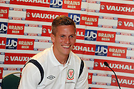 Steve Morison of Wales .Wales football players media session at St.Davids Hotel in Cardiff on Tuesday 4th Sept 2012, the Welsh players talk about their forthcoming World cup qualifier against Belgium on Friday 8th Sept.  pic by  Andrew Orchard, Andrew Orchard sports photography,