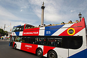 A tour bus with The Original Tour drives through Trafalgar Square on its route through Westminster, on 7th July 2017, in central London.