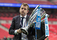 Football - 2016 / 2017 Championship Playoff Final: Reading vs. Huddersfield<br /> <br /> Huddersfield owner Dean Hoyle puffs his cheeks out about how close it was with the Play Off Final trophy at Wembley Stadium.<br /> <br /> COLORSPORT/DANIEL BEARHAM