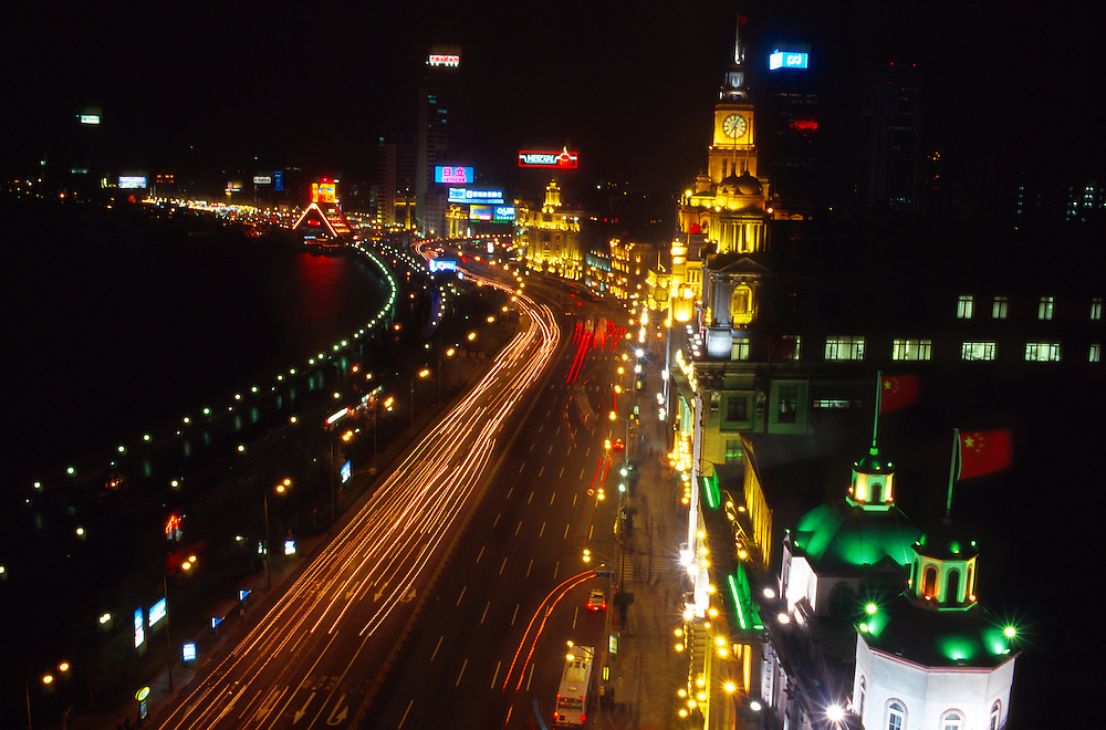 Night time overview of the Bund (Waitan), also known as Zhongshan Dong Lu, on the west bank of the Huangpu River, Shanghai, China
