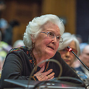 ANNAPOLIS, MD - FEB19: Susan White Bowden testifies for the right to die, after sharing the story of her husband's painful battle with cancer, in the joint hearing room at the General Assembly of Maryland, February 19, 2016, as panelists testify for and against a bill to give patients with terminal illnesses an end of life choice. (Photo by Evelyn Hockstein/For The Washington Post)