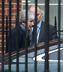 © Licensed to London News Pictures. 09/04/2019. London, UK. British Prime Minster THERESA MAY is seen leaving Downing Street to head to France where she will meet with Angela Merkel and Emmanuel Macron for talks, four days before the UK is due to leave the EU. Photo credit: Ben Cawthra/LNP