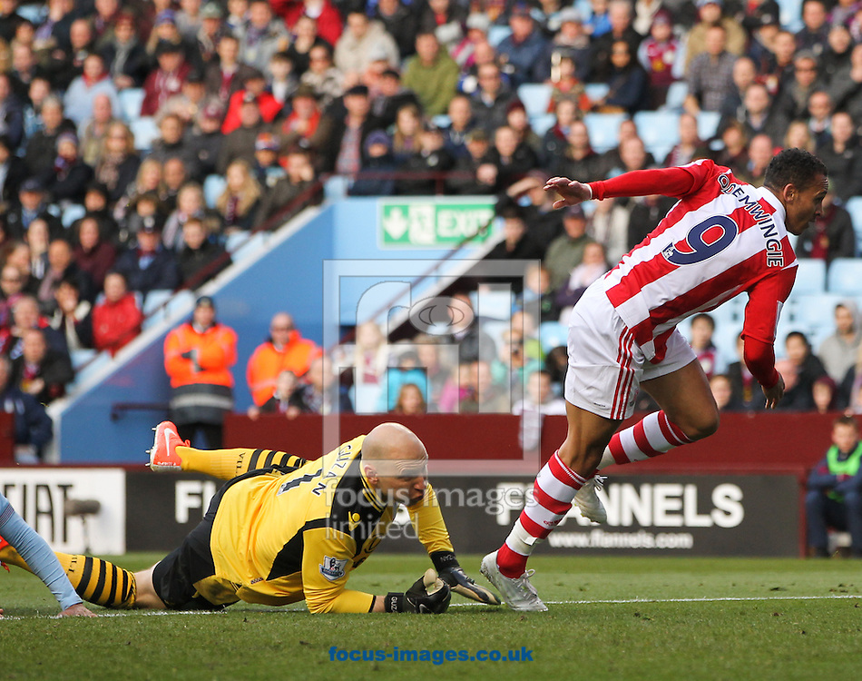 Peter Odemwingie (right) of Stoke City scores his sides first goal during the Barclays Premier League match at Villa Park, Birmingham<br /> Picture by Tom Smith/Focus Images Ltd 07545141164<br /> 23/03/2014