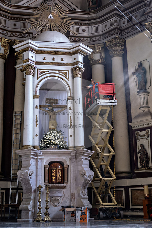 Workers restore the interior of the San Nicolas Tolentino Temple and Ex-Monastery in Actopan, Hidalgo, Mexico. The colonial church and convent  was built in 1546 and combine architectural elements from the romantic, gothic and renaissance periods.