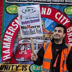 23 Jan. 2015 - The RMT Union protest demands Sodexo reinstate Petrit Hihaj.