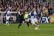 Bristol Rovers Chris Lines (14) running past Southend United Ryan Leonard (18) with the ball second half during the EFL Sky Bet League 1 match between Bristol Rovers and Southend United at the Memorial Stadium, Bristol, England on 11 March 2017. Photo by Gary Learmonth.