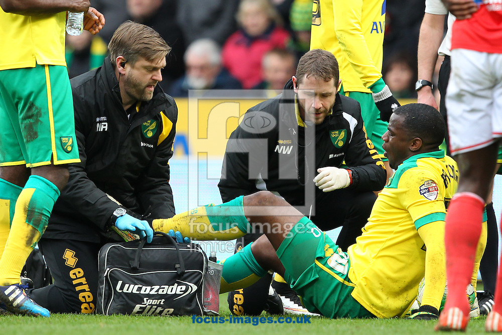 Sebastien Bassong of Norwich requires treatment during the Sky Bet Championship match at Carrow Road, Norwich<br /> Picture by Paul Chesterton/Focus Images Ltd +44 7904 640267<br /> 21/03/2015