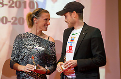 Sonja Roman and  Bostjan Buc during the Slovenia's Athlete of the year award ceremony by Slovenian Athletics Federation AZS, on November 12, 2008 in Hotel Mons, Ljubljana, Slovenia.(Photo By Vid Ponikvar / Sportida.com) , on November 12, 2010.
