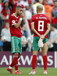 (L-R) Hakim Ziyech of Morocco, Karim El Ahmadi of Morocco during the 2018 FIFA World Cup Russia group B match between Portugal and Morocco at the Luzhniki Stadium on June 20, 2018 in Moscow, Russia