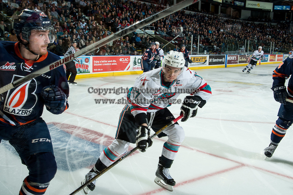 KELOWNA, CANADA - MARCH 25: Rodney Southam #17 of Kelowna Rockets checks a player of the Kamloops Blazers on March 25, 2016 at Prospera Place in Kelowna, British Columbia, Canada.  (Photo by Marissa Baecker/Shoot the Breeze)  *** Local Caption *** Rodney Southam;