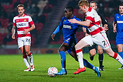AFC Wimbledon defender Paul Osew (37) in action during the The FA Cup match between Doncaster Rovers and AFC Wimbledon at the Keepmoat Stadium, Doncaster, England on 19 November 2019.