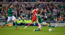 DUBLIN, IRELAND - Tuesday, October 16, 2018: Wales' Tom Lawrence shoots at goal during the UEFA Nations League Group Stage League B Group 4 match between Republic of Ireland and Wales at the Aviva Stadium. (Pic by Paul Greenwood/Propaganda)
