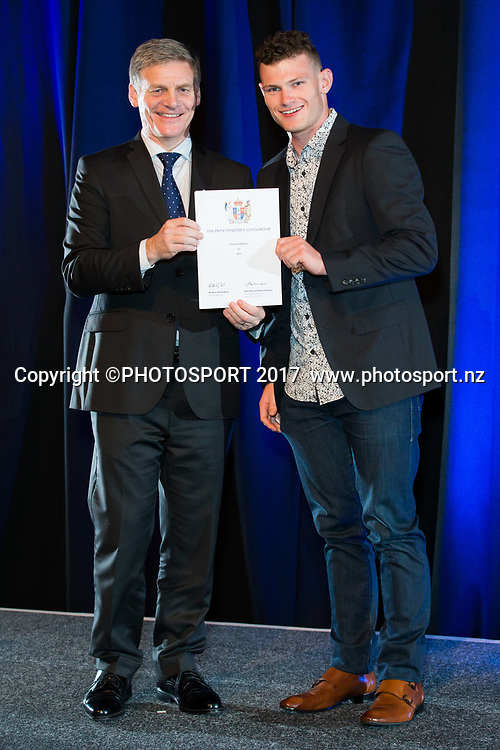 Zachary Williams with Rt Hon Bill English, 2017 Waikato Prime Minister's Scholarship Certificate Presentation Evening, Claudelands, Hamilton, New Zealand. Thursday 27 April 2017. © Copyright Photo: Stephen Barker / www.photosport.nz