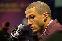 3 February 2013: Quarterback (7) Colin Kaepernick of the San Francisco 49ers speaks to the media after being defeated by the Baltimore Ravens 34-31 in Superbowl XLVII at the Mercedes-Benz Superdome in New Orleans, LA.