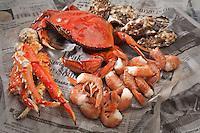 Alaska shelfish bounty: King Crab, Dungeness Crab, Prawns, and Oysters