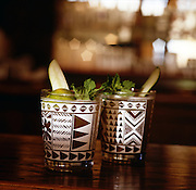 San Francisco, California: Trader Vics Restaurant serves Asian Island-style food in their restaurant designed with original Tiki-inspired decor. Pictured here are mai tais. Jan. 2005 (photo: Ann Summa).