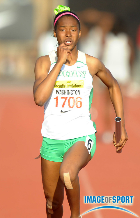 Apr 7, 2012; Arcadia, CA, USA; Ariana Washington runs the anchor leg on the victorious Long Beach Poly girls 4 x 100m relay that ran 46.13 in the Arcadia Invitational at Arcadia High.