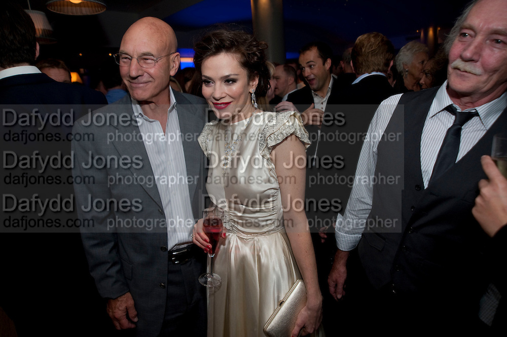 PATRICK STEWART; ANNA FRIEL; Des Friel, The afterparty following the press night of 'Breakfast At Tiffany's' The Swimming pool,  Haymarket Hotel, London. September 29  2009.