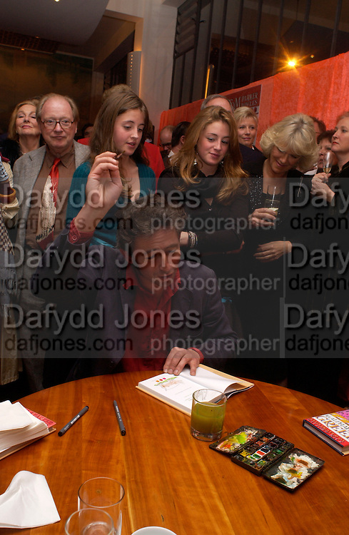 Kitty and Elizabeth Rice behind their father Matthew Rice, Tom Parker Bowles, Susan Hill and Matthew Rice host party to launch 'E is For Eating' Kensington Place. 3 November 2004.  ONE TIME USE ONLY - DO NOT ARCHIVE  © Copyright Photograph by Dafydd Jones 66 Stockwell Park Rd. London SW9 0DA Tel 020 7733 0108 www.dafjones.com