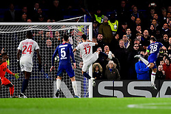 Cesar Azpilicueta of Chelsea scores his sides first goal of the game  - Mandatory by-line: Ryan Hiscott/JMP - 10/12/2019 - FOOTBALL - Stamford Bridge - London, England - Chelsea v Lille - UEFA Champions League group stage