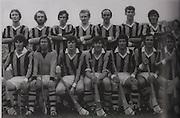 "Kilkenny All-Ireland Hurling Champions 1975. Back Row: Brian Coady, Tom McCormack, Mick Crotty, Pat Henderson, Eddie Keher, Frank Cummins, Pat Delaney, Fan Larkin. Front Row: Liam ""Chunky"" O'Brien, Noel Skehan, Billy Fitzpatrick (capt), Mick Brennan, Pat Lalor, Kieran Purcell, Nicky Orr."