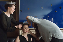 © London News Pictures. 03/04/15. London, UK. Tiaras are put onto two models as part of the press preview of Sotheby's magnificent jewels sale, central London. Photo credit: Laura Lean/LNP