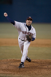 Virginia Cavaliers pitcher Jake Rule (32) pitching against Bucknell.  The Virginia Cavaliers Baseball Team defeated the Bucknell University Bison 2-0 at Davenport Field in Charlottesville, VA on February 23, 2007.