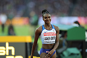 Dina Asher-Smith wins 200m heat during the IAAF World Championships 080817 at the London Stadium, London, England on 8 August 2017. Photo by Myriam Cawston.