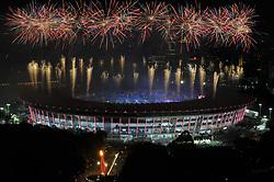 August 18, 2018 - Jakarta, Jakarta, Indonesia - Fireworks explode over the Gelora Bung Karno main stadium during the opening ceremony of the 2018 Asian Games in Jakarta on August 18, 2018. (Photo by Aditya Irawan/NurPhoto) (Credit Image: © Dasril Roszandi/NurPhoto via ZUMA Press)