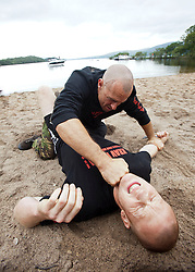 Krav Island, Sunday session on Inchcailloch Island on Loch Lomond, near Balmaha. Krav Island is the IKMS annual event of two days intense Krav Maga training in and around Loch Lomond.