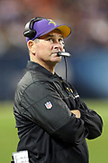 Minnesota Vikings head coach Mike Zimmer looks on from the sideline during the 2016 NFL week 8 regular season football game against the Chicago Bears on Monday, Oct. 31, 2016 in Chicago. The Bears won the game 20-10. (©Paul Anthony Spinelli)