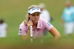 July 14, 2018 - Sylvania, Ohio, United States - Brooke Henderson of Canada lines up her putt on the second green during the third round of the Marathon LPGA Classic golf tournament at Highland Meadows Golf Club in Sylvania, Ohio USA, on Saturday, July 14, 2018. (Credit Image: © Jorge Lemus/NurPhoto via ZUMA Press)