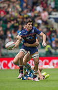 Twickenham, Surrey United Kingdom. Scotlands, Hugh BLAKE, looking to pass the ball, during the Pool B Match, Scotland vs Argentina at the  &quot;2017 HSBC London Rugby Sevens&quot;,  Saturday 20/05/2017 RFU. Twickenham Stadium, England    <br /> <br /> [Mandatory Credit Peter SPURRIER/Intersport Images]
