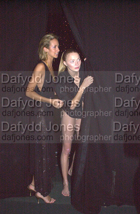 Lady Victoria Hervey and Jodie Kydd. Moet & Chandon fashion Tribute. Shoreditch High St. London 24 October 2000. © Copyright Photograph by Dafydd Jones 66 Stockwell Park Rd. London SW9 0DA Tel 020 7733 0108 www.dafjones.com