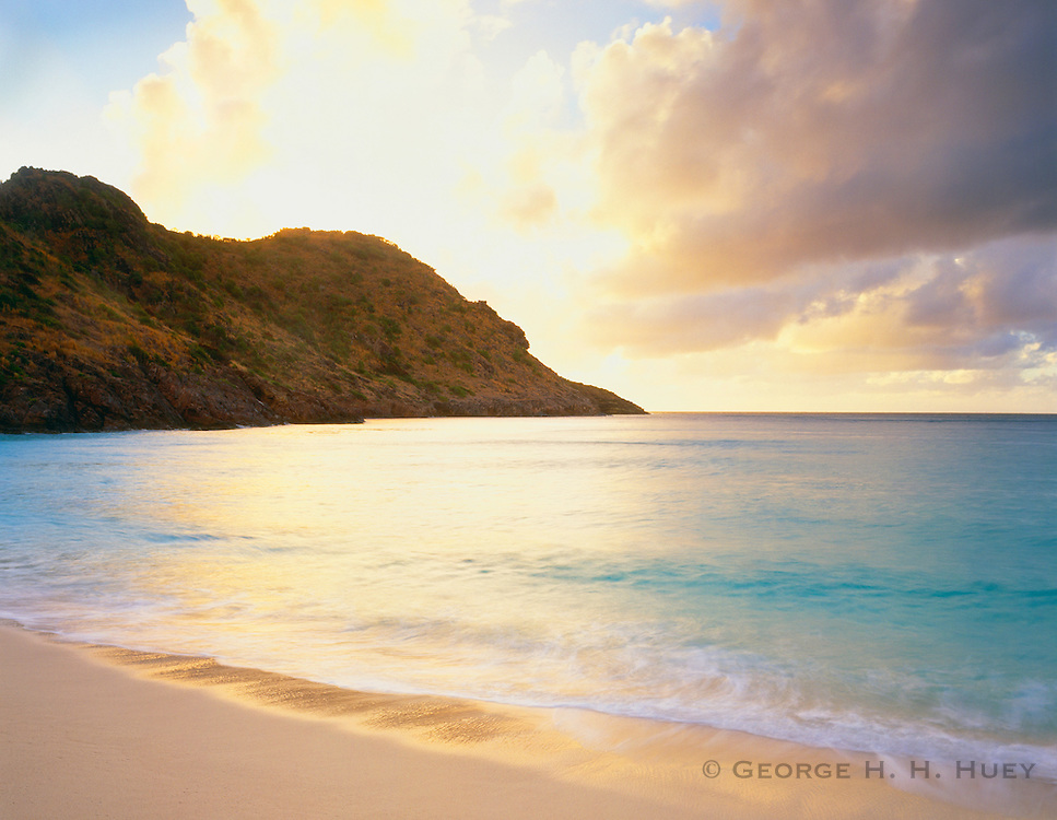 6208-1001 ~ Copyright: George H. H. Huey ~ Beach at Anse du Gouverneur, popular swimming and sunbathing spot. Island of St. Barts, Leeward Islands, Lesser Antilles, Caribbean.